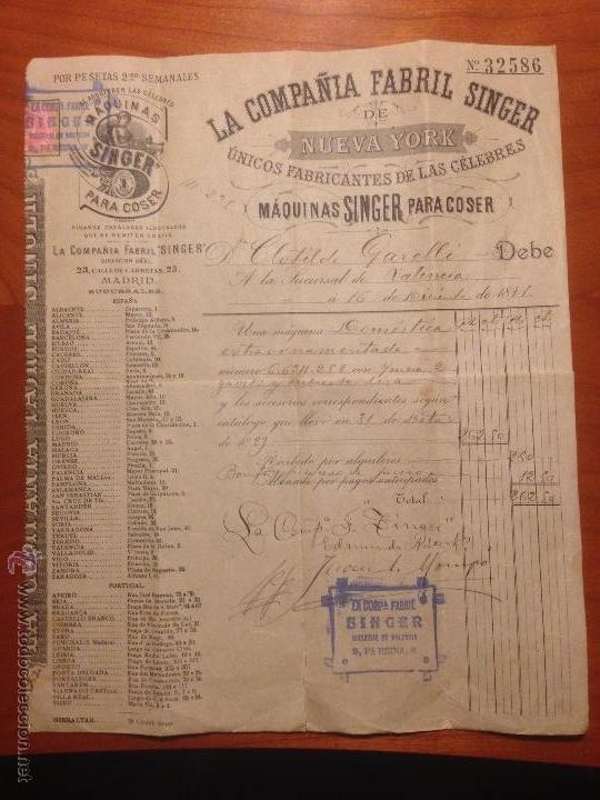 FACTURA DE COMPRA MAQUINA SINGER 1891 (Antigüedades - Técnicas - Máquinas de Coser Antiguas - Singer)