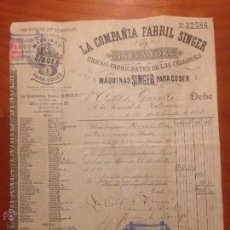 Antigüedades: FACTURA DE COMPRA MAQUINA SINGER 1891. Lote 52336061