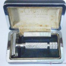 Antigüedades: MAQUINILLA DE AFEITAR GILLETTE ARISTOCRAT RHODIUM #22 PATENT PENDING MADE IN ENGLAND SAFETY RAZOR. Lote 52381849