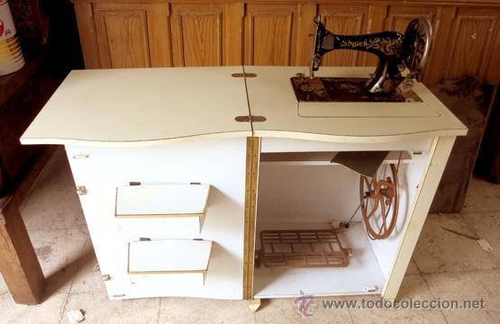 Maquina coser singer encastrada en mueble plega comprar - Mueble para maquina de coser ...