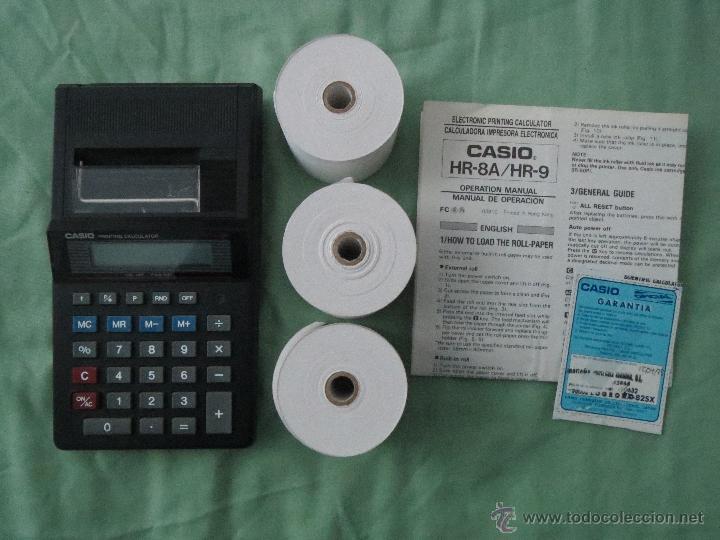 CASIO HR9 - BK CALCULADORA ELECTRONICA IMPRESORA (Antigüedades - Técnicas - Aparatos de Cálculo - Calculadoras Antiguas)