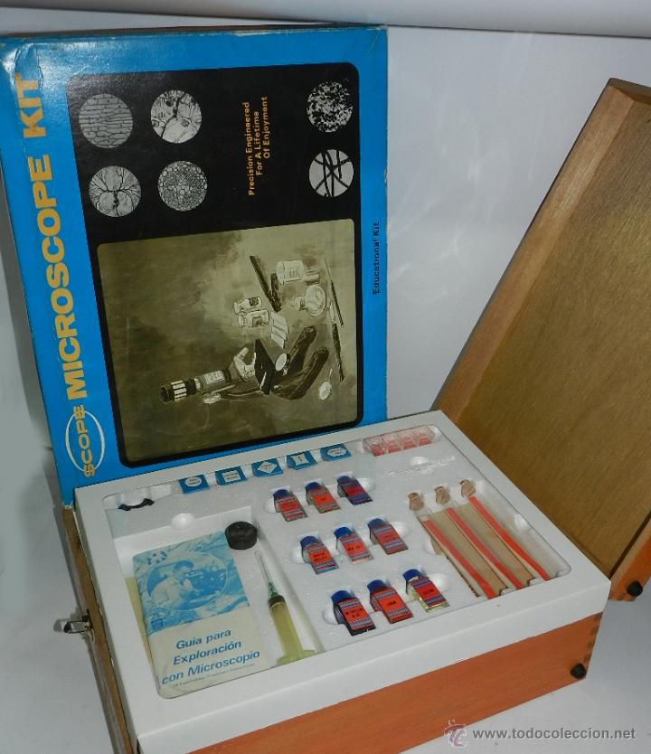 Antigüedades: Microscopio Scope 50 x 900, en su caja original, con maletín de madera, realmente completo, casi a e - Foto 2 - 52494743