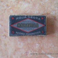 Antigüedades: CAJA DE HOJAS DE AFEITAR MARAVILLA,10 UNID.FABRICANTE REGENSA,PRECIO CADA HOJA 0,60 PTAS,HOJA NEGRA. Lote 52541692