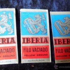 Antigüedades: LOTE 3 HOJAS DE AFEITAR IBERIA. Lote 52560271