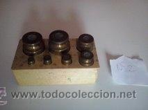 Antigüedades: Nº2 ANTIGUA CAJA CON 7 PESAS EN BRONCE - Foto 4 - 52569931