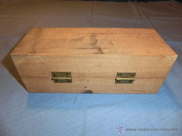 Antigüedades: Nº30 ANTIGUO JUEGO DE PESAS EN BRONCE CON SU CAJA MADERA PARA GUARDARLAS - Foto 2 - 52570356