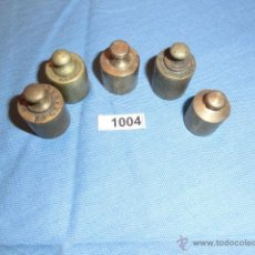 Antigüedades: REF- 1004 JUEGO DE PESAS EN BRONCE 5UD. Lote 52576325
