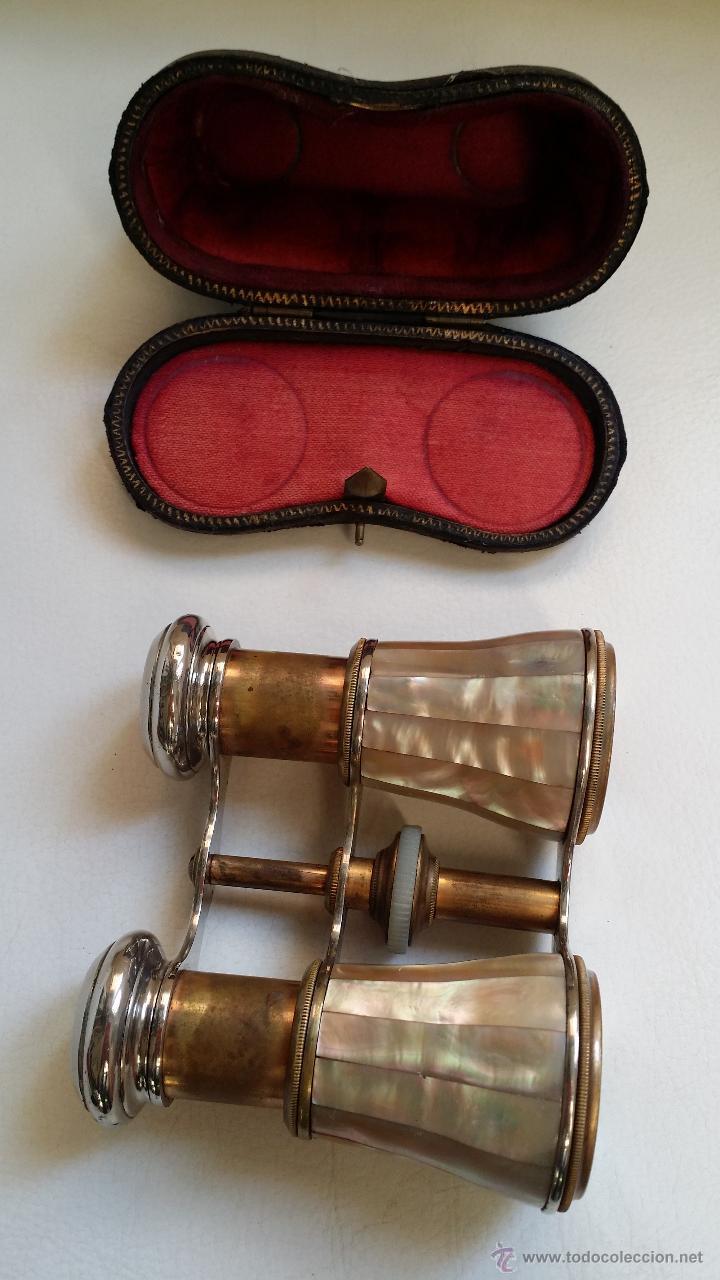 Antigüedades: Antiguos prismáticos o anteojos de teatro / nacar - Foto 6 - 52594048