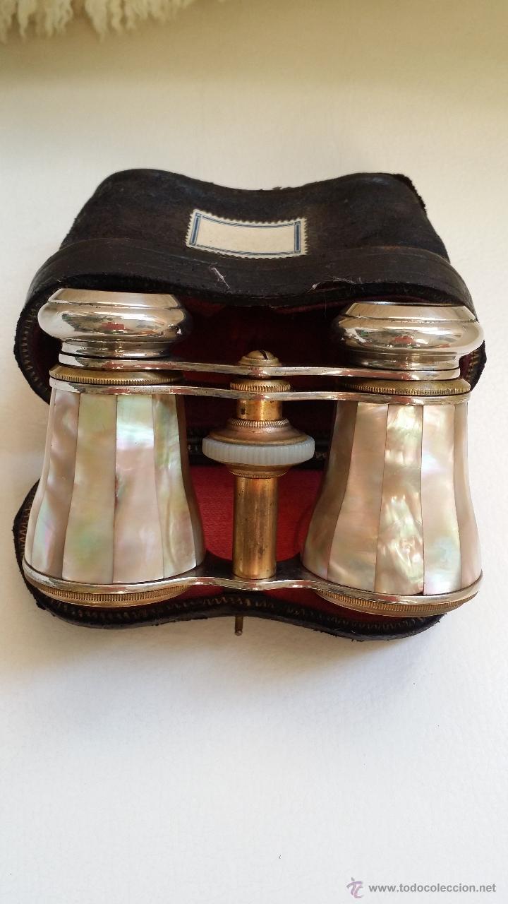 Antigüedades: Antiguos prismáticos o anteojos de teatro / nacar - Foto 13 - 52594048