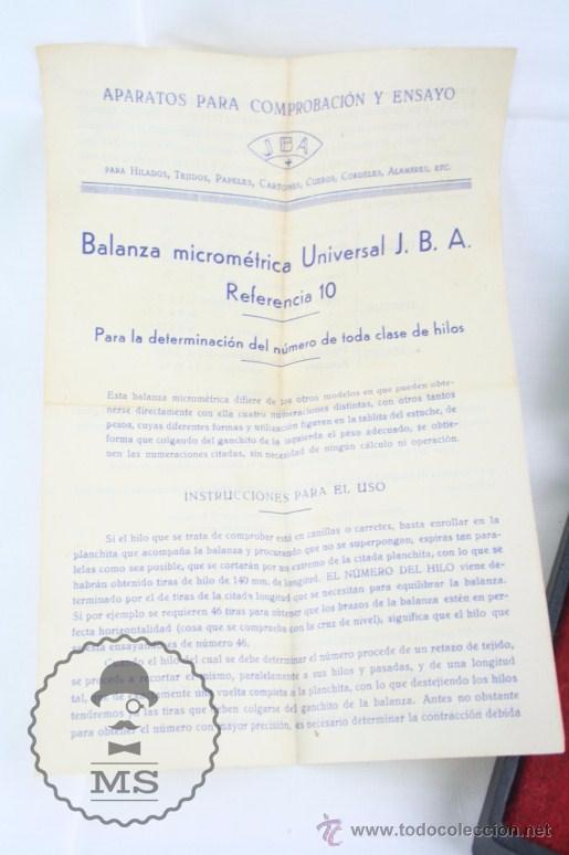 Antigüedades: Balanza Micrométrica para Pesar Tejidos, Papel, Cuero... - JBA - Medidas Caja 13 x 8,5 x 4,5 Cm - Foto 4 - 52785881