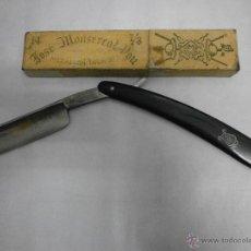 Antigüedades: NAVAJA DE AFEITAR JOSE MONSERRAT POU MEDALLON TAURINO14 DOMINGO FERMIÑAN CUCHILLERIA VACIADOR LERIDA. Lote 52939570