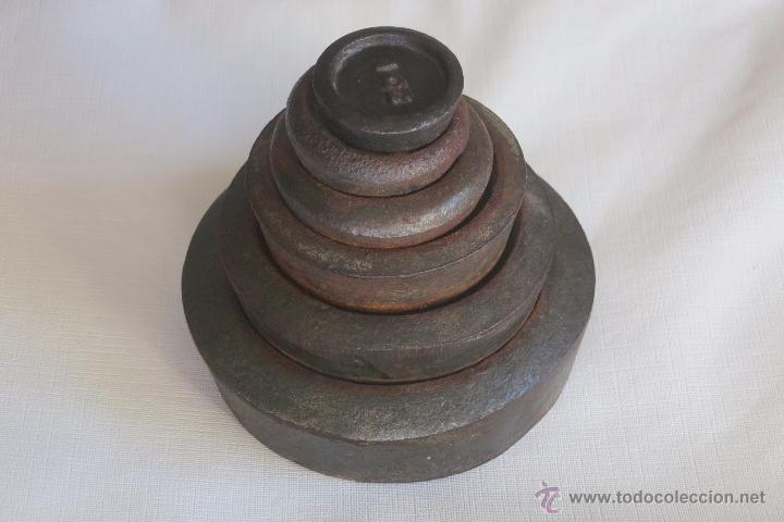 JUEGO DE PESAS INGLESAS DE HIERRO (Antigüedades - Técnicas - Medidas de Peso Antiguas - Otras)