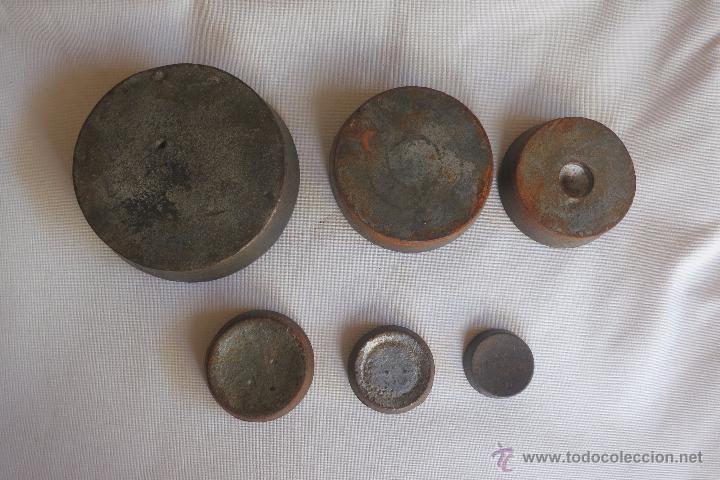 Antigüedades: juego de pesas inglesas de hierro - Foto 4 - 52941622