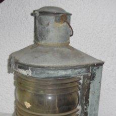 Antigüedades: ANTIGUO FAROL DE BARCO (LUZ DE SITUACIÓN). TRANSFORMADO A LUZ ELÉCTRICA. GRAN TAMAÑO (47 CM). Lote 53089225