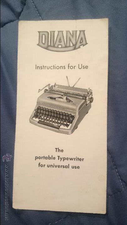 FOLLETO DE INSTRUCCIONES, MAQUINA DE ESCRIBIR DIANA (Antigüedades - Técnicas - Máquinas de Escribir Antiguas - Otras)
