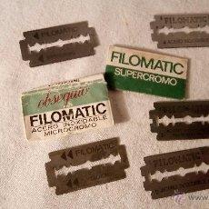 Antigüedades: ANTIGUO LOTE COLECCION HOJA HOJAS AFEITAR FILOMATIC CON SU FUNDA ORIGINAL.. Lote 53170173