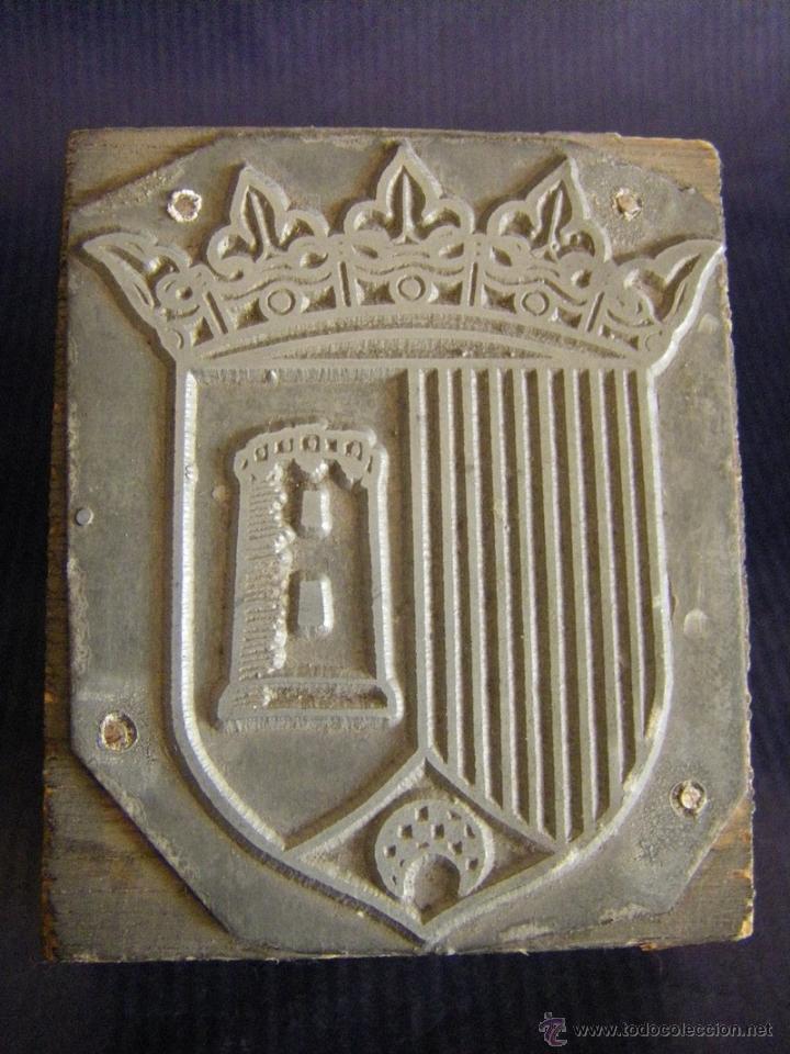 Antigüedades: Taco o sello de imprenta escudo de Paterna Valencia mitad siglo XX - Foto 2 - 53284178