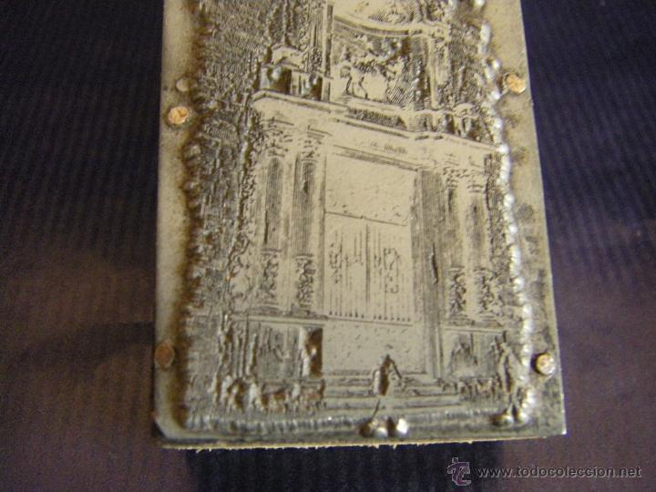 Antigüedades: Taco o sello de imprenta de la portada de la Iglesia Abadía San Martín de Valencia mitad siglo XX - Foto 2 - 53284327