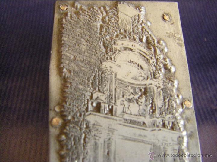 Antigüedades: Taco o sello de imprenta de la portada de la Iglesia Abadía San Martín de Valencia mitad siglo XX - Foto 3 - 53284327