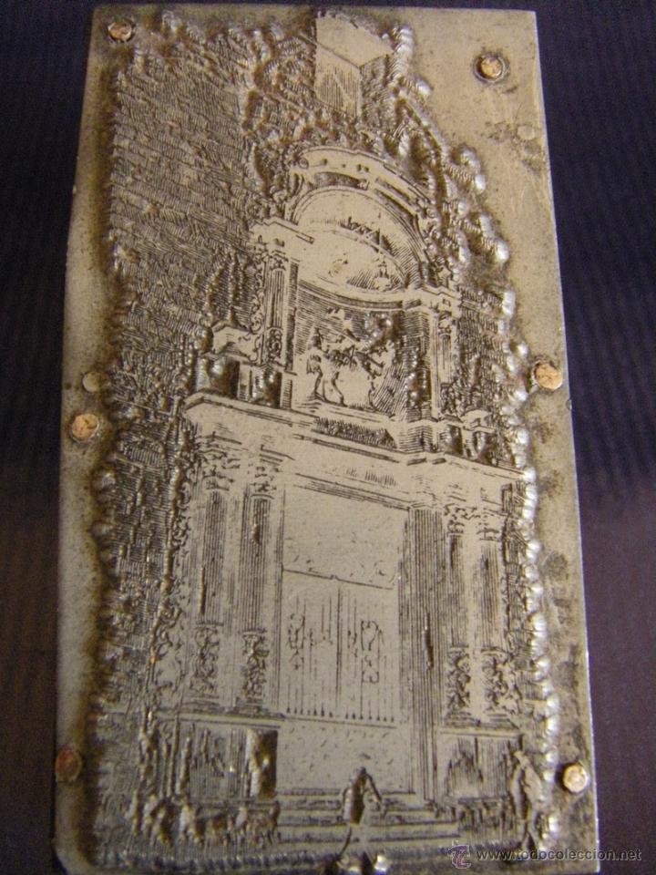 Antigüedades: Taco o sello de imprenta de la portada de la Iglesia Abadía San Martín de Valencia mitad siglo XX - Foto 4 - 53284327