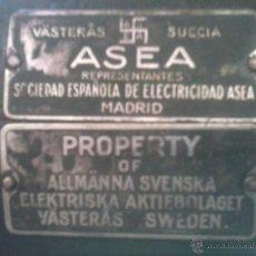 Antigüedades: MOTOR ELECTRICO - ASEA - ESVASTICA - ( COMPAÑIA ELÉCTRICA GENERAL SUECA ) , 1925.. Lote 53444250