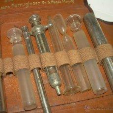 Antigüedades: ANTIGUO ESTUCHE MEDICO DE PIEL CON DIVERSOS UTENSILIOS SEDANTE PARA NERVIOS- SIGLO XIX. Lote 53462342