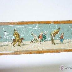 Antigüedades: ANTIGUO CRISTAL PARA LINTERNA MÁGICA. 15 X 4 CTMS. ESCENA CÓMICA. Lote 53742400
