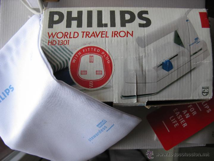 PLANCHA DE VIAJE PHILIPS HD1301. WORLD TRAVEL IRON. CLAVIJA TIPO INGLESA. (VER FOTOS - COMO NUEVA) (Antigüedades - Técnicas - Planchas Antiguas - Eléctricas)