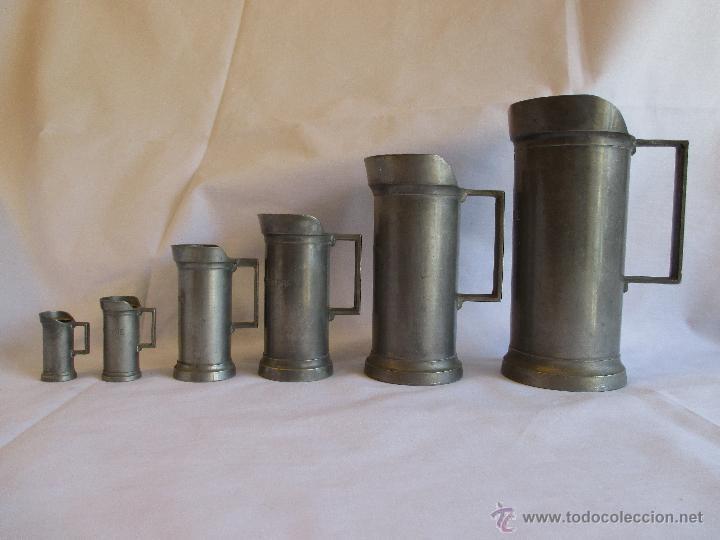 MEDIDAS DE ESTAÑO PARA LIQUIDOS FRANCIA (Antigüedades - Técnicas - Medidas de Peso Antiguas - Otras)