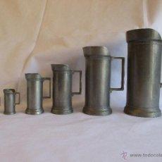 Antigüedades: MEDIDAS DE ESTAÑO PARA LIQUIDOS FRANCIA. Lote 53793521