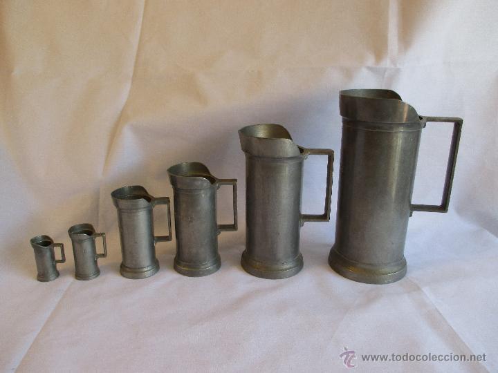 Antigüedades: medidas de estaño para liquidos Francia - Foto 2 - 53793521