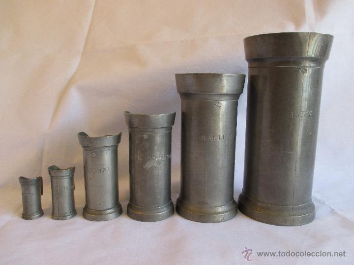Antigüedades: medidas de estaño para liquidos Francia - Foto 3 - 53793521