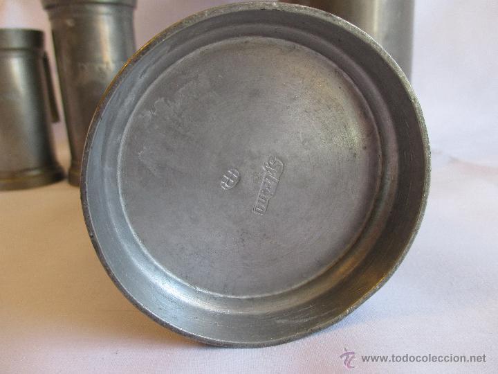 Antigüedades: medidas de estaño para liquidos Francia - Foto 5 - 53793521