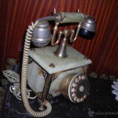 Teléfonos: TELÉFONO DE PIEDRA ÓNIX Y BRONCE DOS CAMPANAS ANTIGUO (MADE IN ITALY).. Lote 53830449