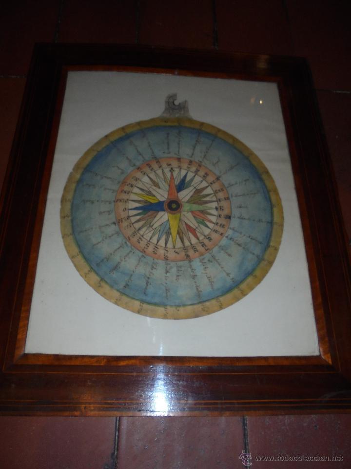 (M) ANTIGUO DIBUJO A TINTA Y ACUARELA ORIGINAL DE LA ROSA DE LOS VIENTOS S. XIX - FECHADO 1838 , (Antigüedades - Antigüedades Técnicas - Marinas y Navales)