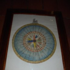 Antigüedades: (M) ANTIGUO DIBUJO A TINTA Y ACUARELA ORIGINAL DE LA ROSA DE LOS VIENTOS S. XIX - FECHADO 1838 , . Lote 53957222