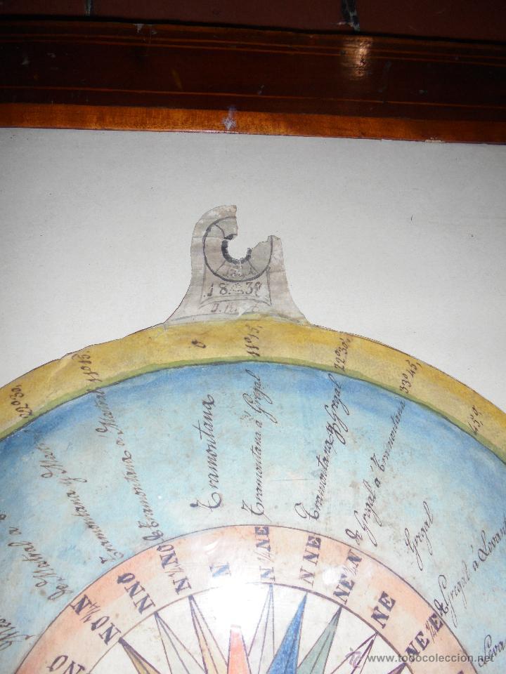 Antigüedades: (M) ANTIGUO DIBUJO A TINTA Y ACUARELA ORIGINAL DE LA ROSA DE LOS VIENTOS S. XIX - FECHADO 1838 , - Foto 2 - 53957222