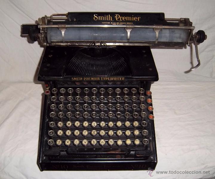 ESPECTACULAR MÁQUINA DE ESCRIBIR SMITH PREMIER Nº 10 (TECLADO DOBLE) (Antigüedades - Técnicas - Máquinas de Escribir Antiguas - Smith)