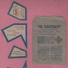Antigüedades: PUBLICIDAD CON SOBRE DE LAS HOJAS DE AFEITAR EXTRAFINA-LUJO EL CASTILLO. Lote 54012417