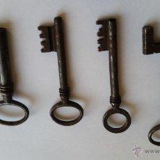 Antigüedades: 4 LLAVES DE HIERRO DEL SIGLO XIX. Lote 54025728