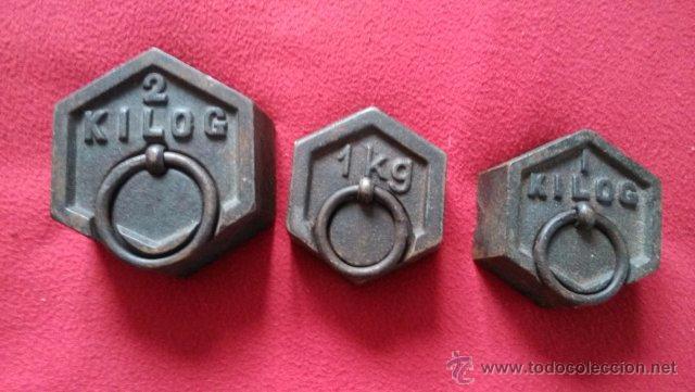 ANTIGUO LOTE DE PESAS 2KGR Y 1KGR (Antigüedades - Técnicas - Medidas de Peso - Balanzas Antiguas)