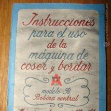 Antigüedades: INSTRUCCIONES PARA EL USO DE LA MAQUINA DE COSER ALFA. EIBAR. GUIPUZCOA. Lote 54123328