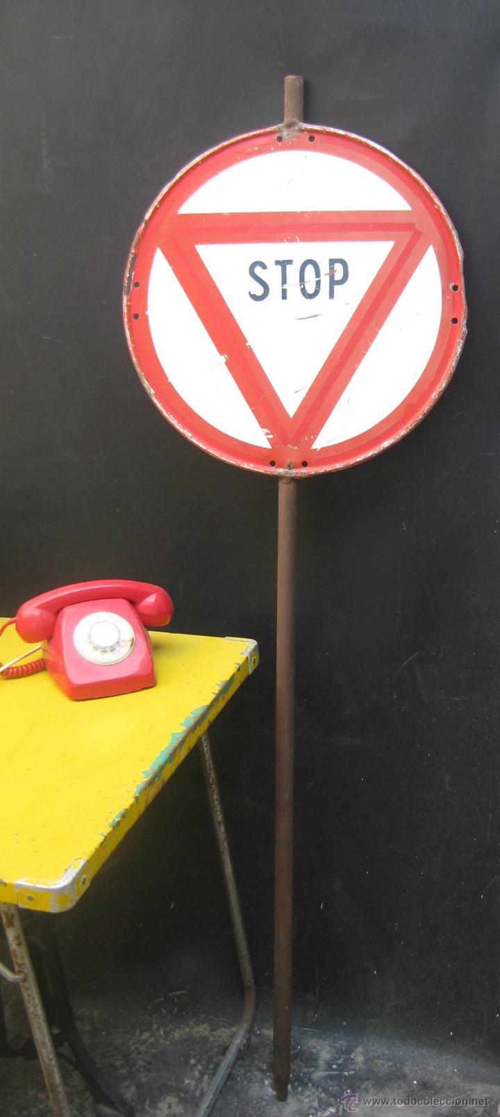 GENIAL SEÑAL ANTIGUA STOP OBRAS CALLES CARRETERAS ANTIGUA SALUDES VALENCIA DECORACION POP INDUSTRIAL (Antigüedades - Técnicas - Herramientas Profesionales - Albañileria)