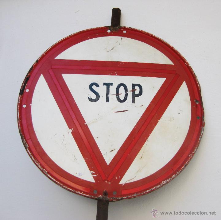 Antigüedades: GENIAL SEÑAL ANTIGUA STOP OBRAS CALLES CARRETERAS ANTIGUA SALUDES VALENCIA DECORACION POP INDUSTRIAL - Foto 3 - 54203475