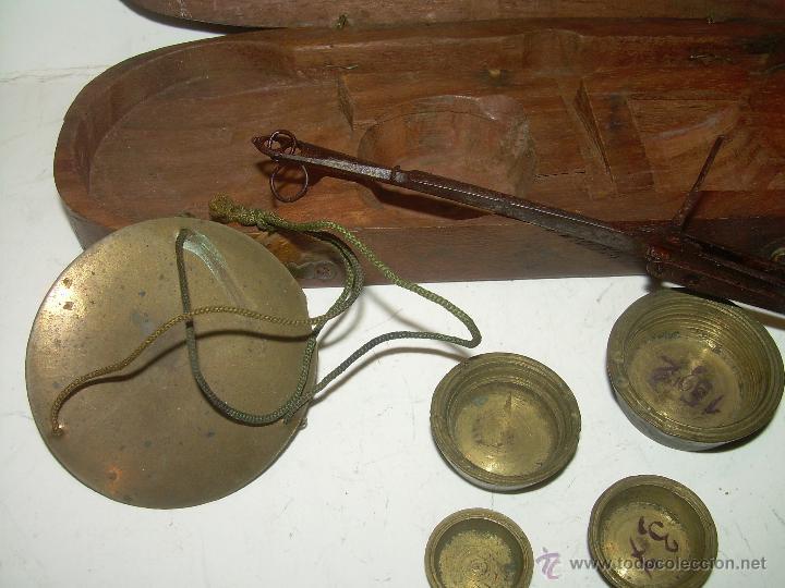 Antigüedades: MUY ANTIGUA Y BONITA BALANZA HIERRO FORJADO PARA PESAR MONEDAS DE ORO Y PLATA. - Foto 2 - 54269479