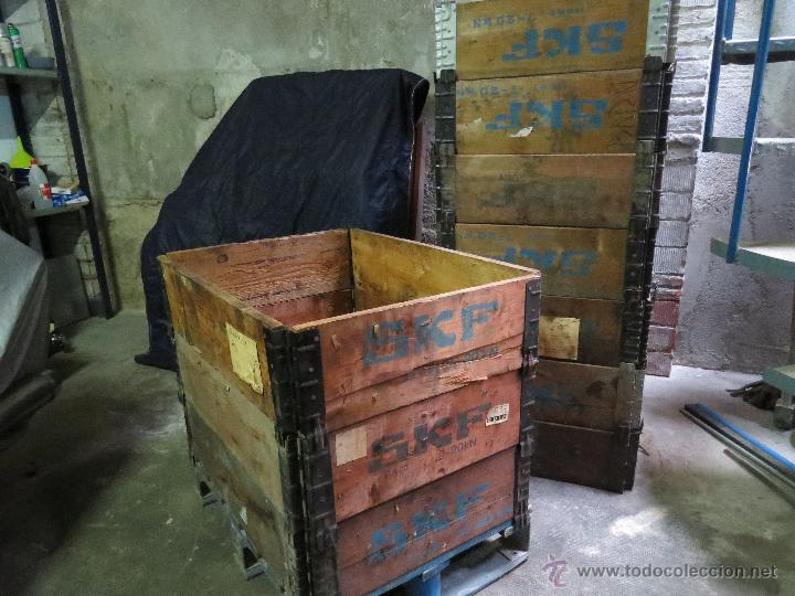 conjunto antiguas caja palet plegable rodamientos skf con tapa madera antigedades tcnicas