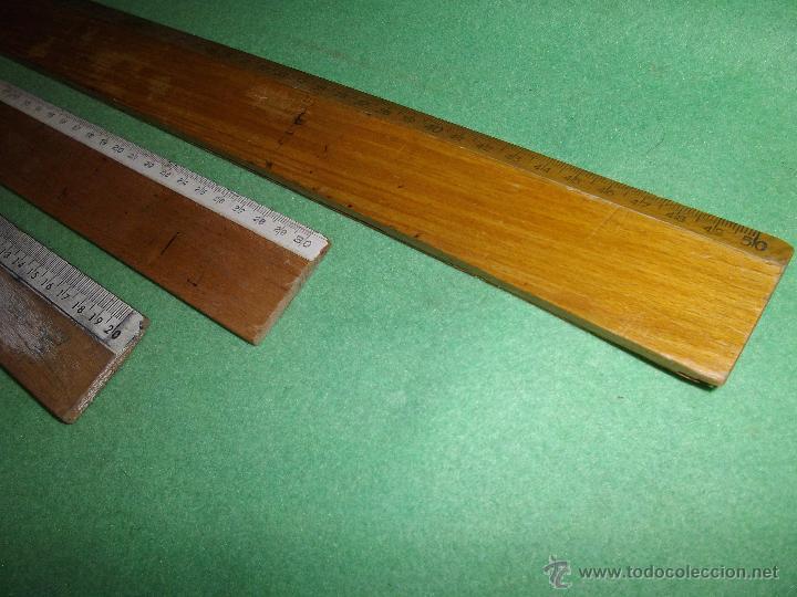 Antigüedades: DIDACTICO LOTE 3 REGLA ALUMNO OFICINA ESCOLAR ESCUELA MADERA 20-30-50 CMS VINTAGE DIBUJO - Foto 3 - 54419196