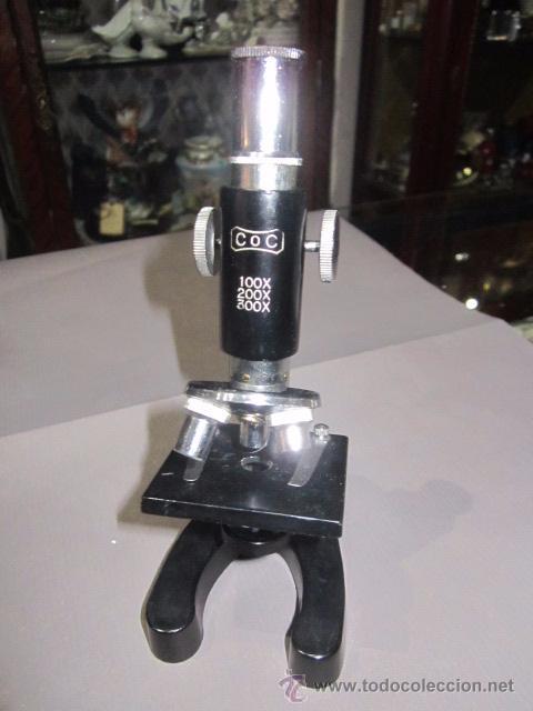 MICROSCOPIO COC. 15 CMS. ALTURA. (Antigüedades - Técnicas - Instrumentos Ópticos - Microscopios Antiguos)