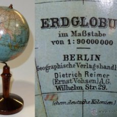 Antigüedades: 1925CA - ANTIGUO GLOBO TERRAQUEO REIMER 15CM. DIÁM. TERRESTRIAL GLOBE. Lote 54560544