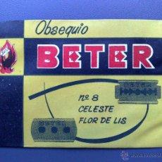 Antigüedades: SOBRE OBSEQUIO BETER-CELESTE-FLOR DE LIS Nº8 CON CUCHILLA-SIN USAR-CON PRECINTO (8CMS X 6CMS.). Lote 54628424